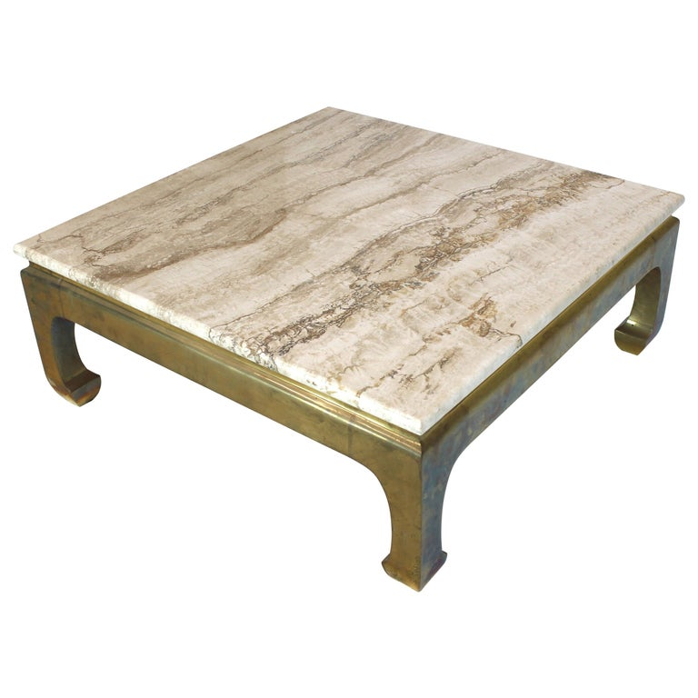 Solid Travertine Coffee Table: Solid Brass Base Square Travertine Top Coffee Center Table