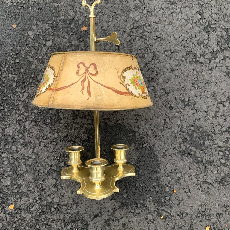 19th Century Solid Brass Bouillotte Lamp with Heart Decorated Lever For Sale