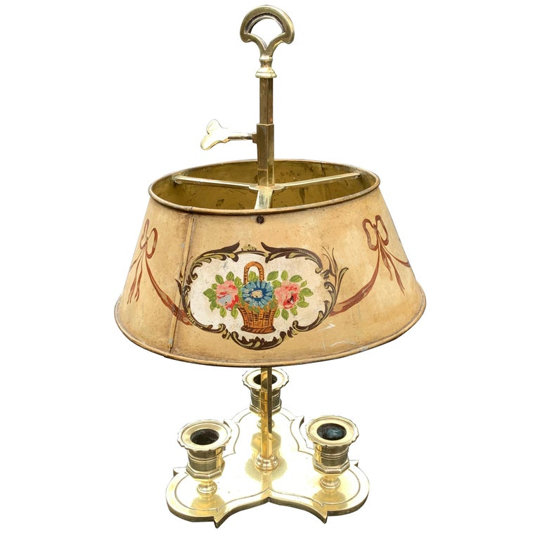 Solid Brass Bouillotte Lamp with Heart Decorated Lever For Sale