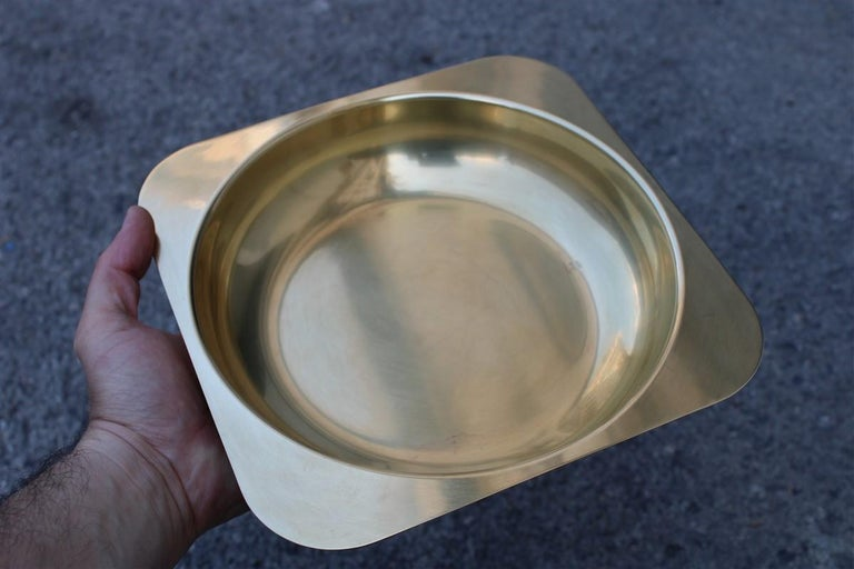 Late 20th Century Solid Brass Bowl Italian Design Ovoid Gold, 1970 For Sale