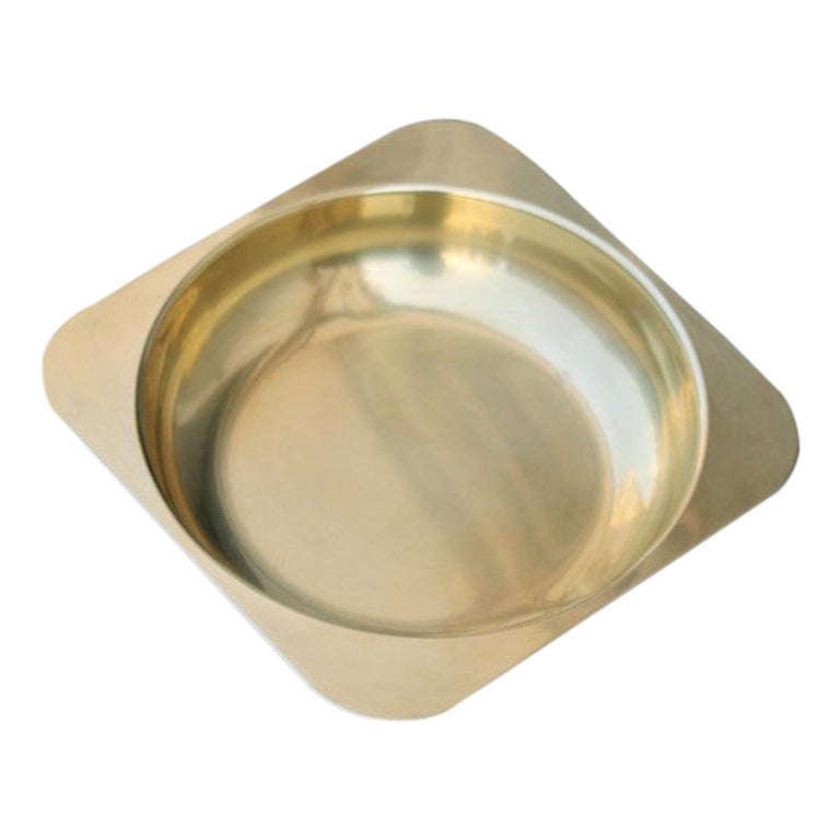 Solid Brass Bowl Italian Design Ovoid Gold, 1970 For Sale