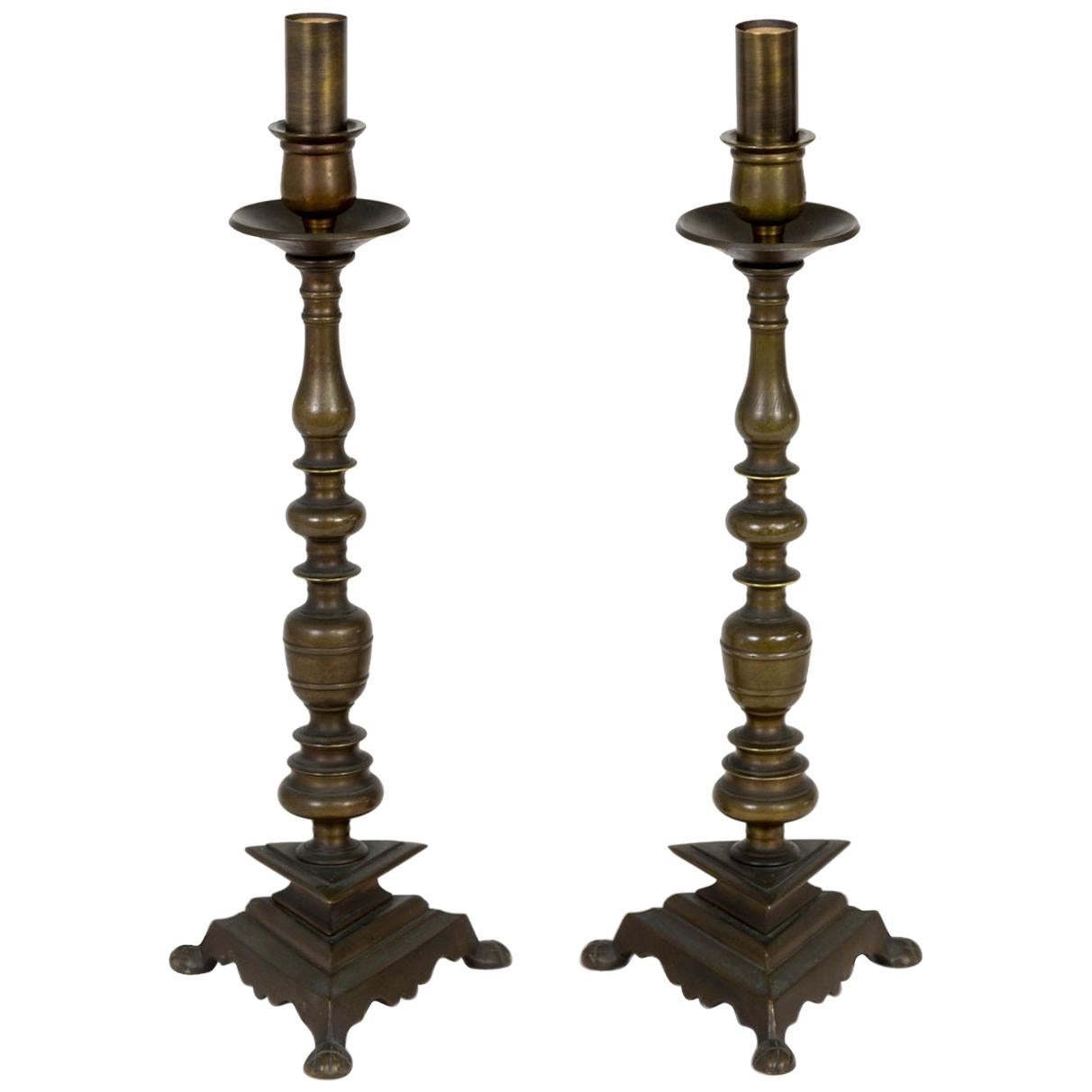 Solid Brass Candlestick Table Lamps w/ Triangular Base 'Pair'