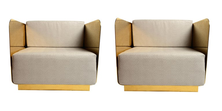 Mid-Century Modern Solid Brass Club Chairs For Sale