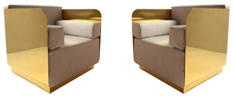 Solid Brass Club Chairs In Good Condition For Sale In Brooklyn/Toronto, Ontario