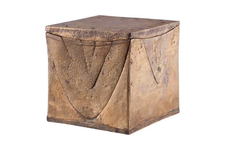 Decorative puzzle is solid brass in the style of Berrocal. Shaped like a cube, build up with many different organic shapes, all hold together by a centre cone shaded piece. Therefore it can also be used to store your keys or coins. Some pieces can