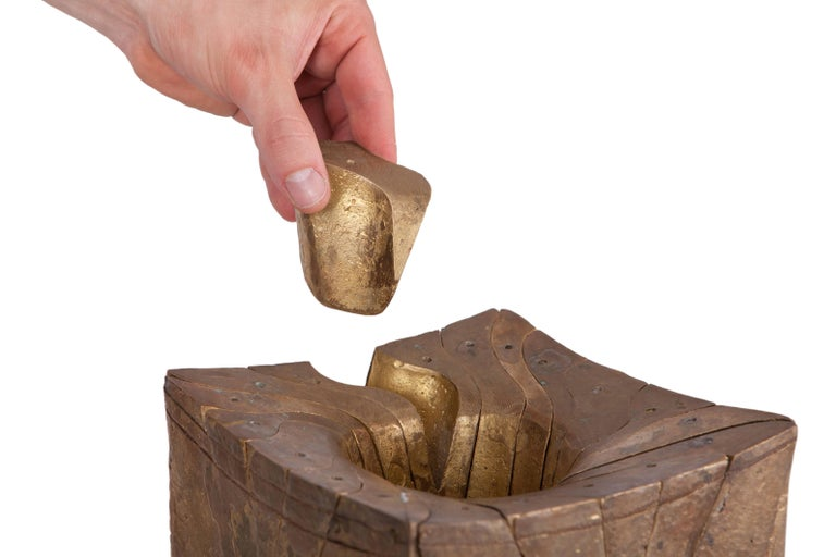 Solid Brass Cube Shaped Puzzle / Artwork For Sale 1