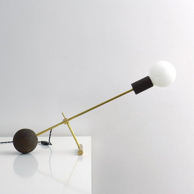 Polish Solid Brass Desk Lamp by Olek Vojtek For Sale