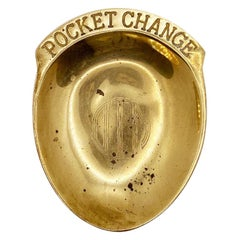 Solid Brass Engraved Pocket Change Catchall, 1976