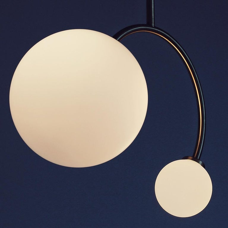 Solid brass equilibrium pendant lamp by Olek Vojtek