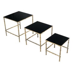 Solid Brass Faux Bamboo Set of 3 Nesting Tables with Black Vitrolite Glass