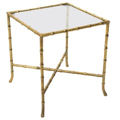Solid Brass Faux Bamboo Side Table Maison Baguès Style