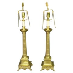 Solid Brass French Regency Fluted Column Lamps with Paw Feet and Anthemia, Pair