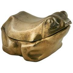 Solid Brass Frog Trinket Box