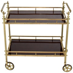 Solid Brass Gallery Lacquered Mahogany Two Tier Serving Cart Bar Table