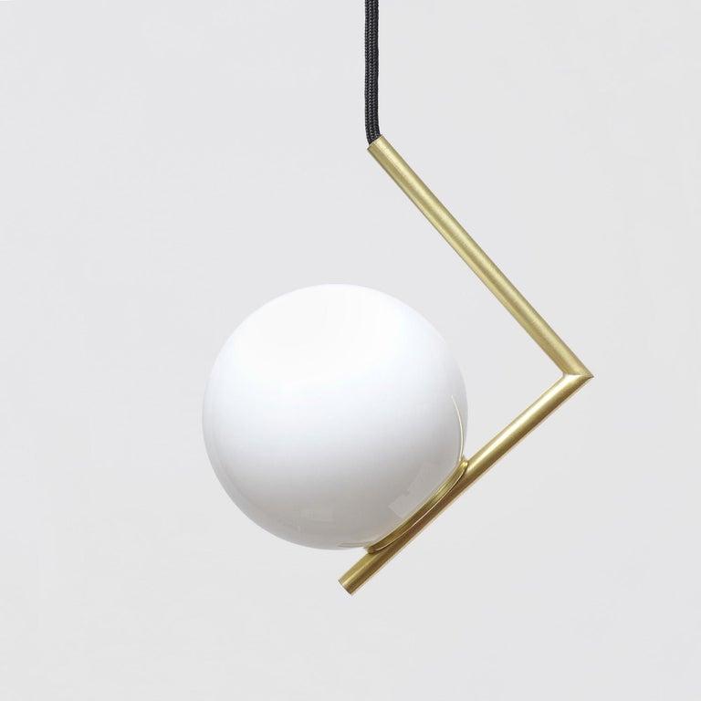 Modern Solid Brass Geometric Pendant Lamp by Olek Vojtek For Sale