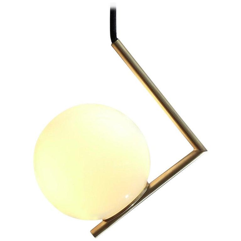Solid Brass Geometric Pendant Lamp by Olek Vojtek For Sale