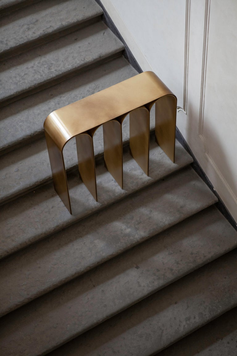 Solid Brass Gold Arch Console by Pietro Franceschini For Sale 5