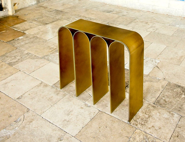 Solid Brass Gold Arch Console by Pietro Franceschini For Sale 9