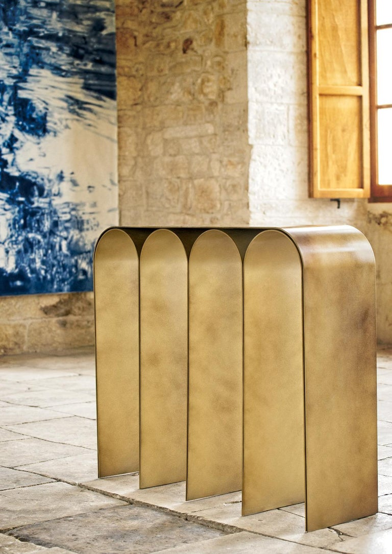 Solid Brass Gold Arch Console by Pietro Franceschini For Sale 13