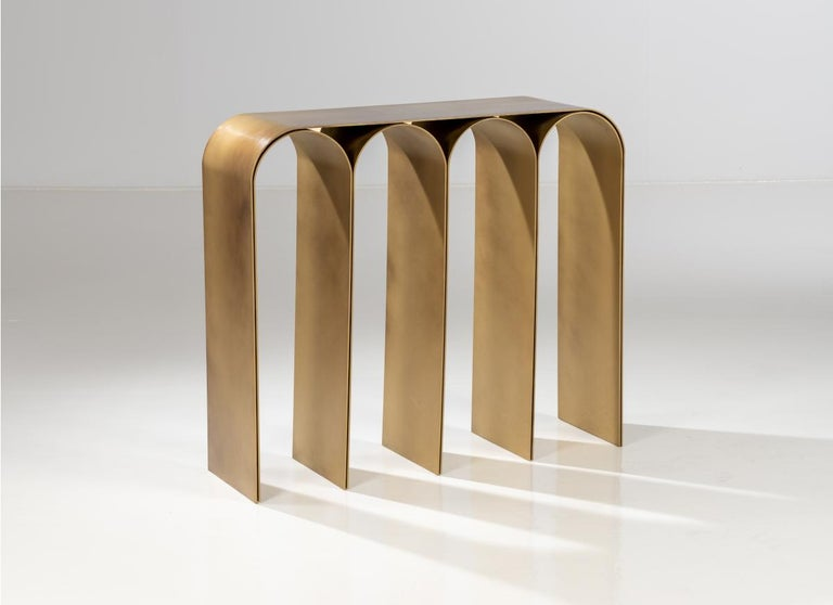 Gold arch console by Pietro Franceschini Sold exclusively by Galerie Philia Manufacturer: Prinzivalli Dimensions: W 103 x L 30 x H 86 cm Materials: Brass  Also available: Steel (brass finish, blackened, satin, polished) Brass (natural,