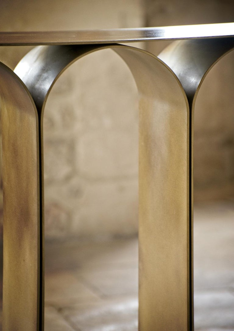 Solid Brass Gold Arch Console by Pietro Franceschini For Sale 14