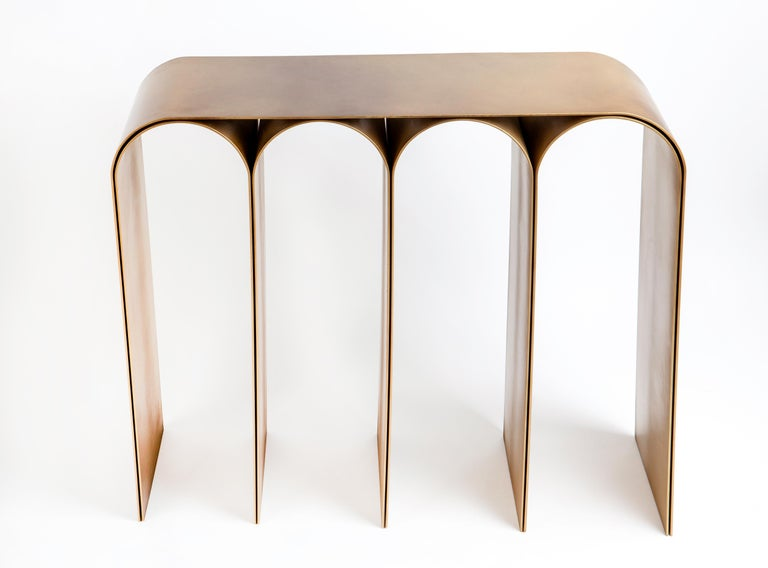Italian Solid Brass Gold Arch Console by Pietro Franceschini For Sale