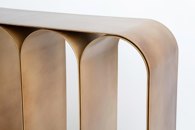 Contemporary Solid Brass Gold Arch Console by Pietro Franceschini For Sale