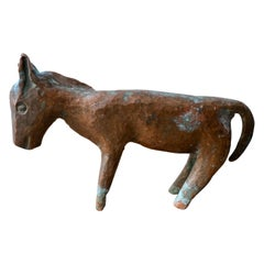 Solid Brass Hammered Burro from Mexico, Circa 1960's