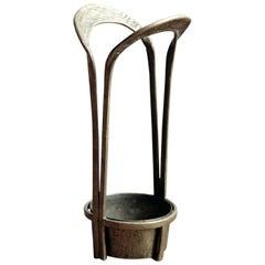 Solid Brass Hand-Hammered Modernist Umbrella Stand