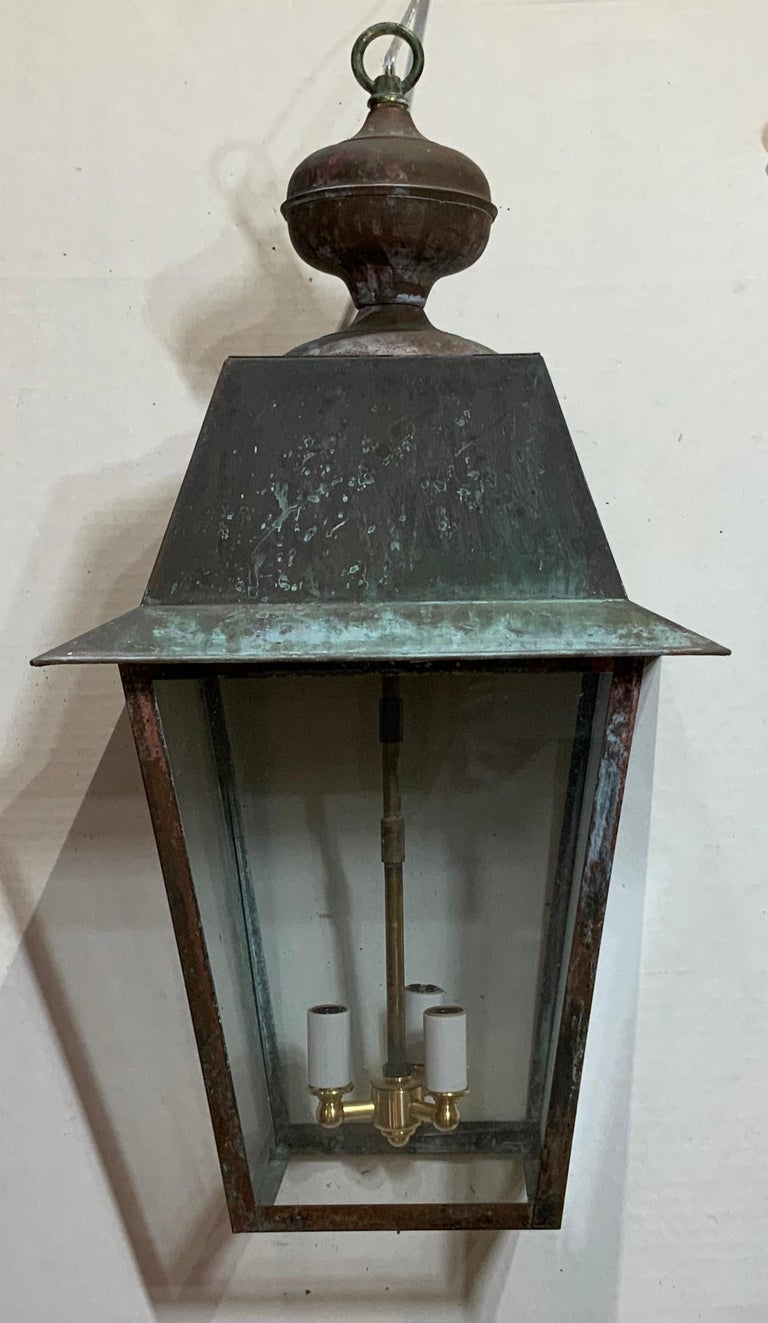 Solid Brass Hanging Lantern For Sale 6
