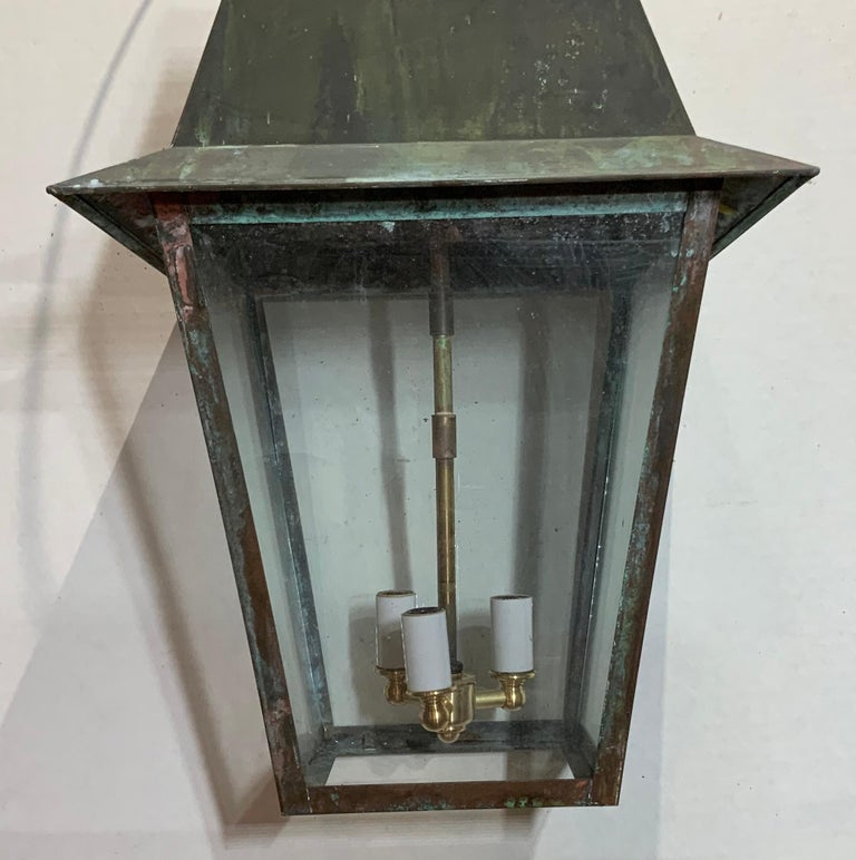 American Solid Brass Hanging Lantern For Sale