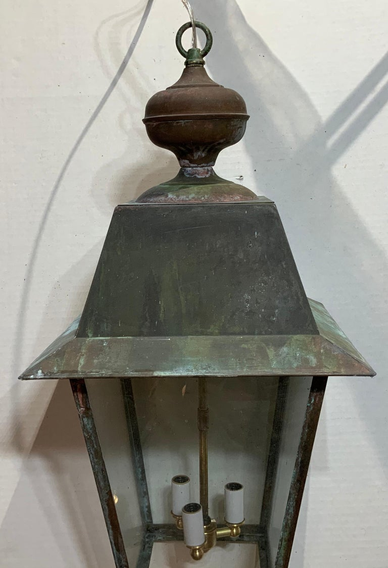 Solid Brass Hanging Lantern In Good Condition For Sale In Delray Beach, FL