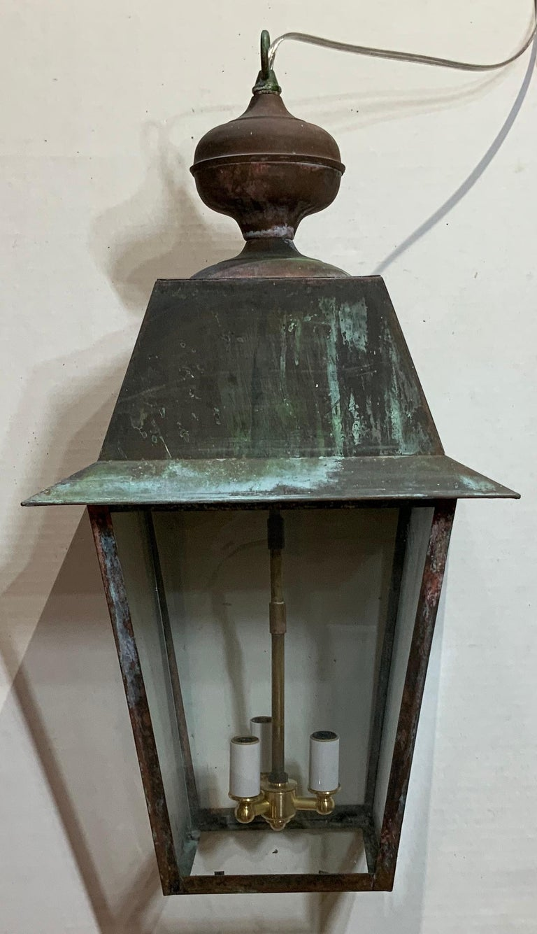 Late 20th Century Solid Brass Hanging Lantern For Sale