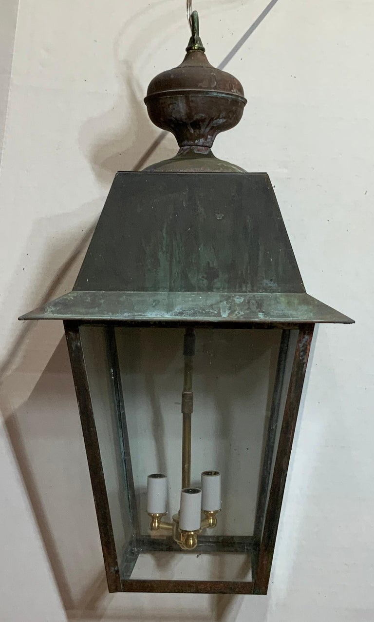 Solid Brass Hanging Lantern For Sale 2