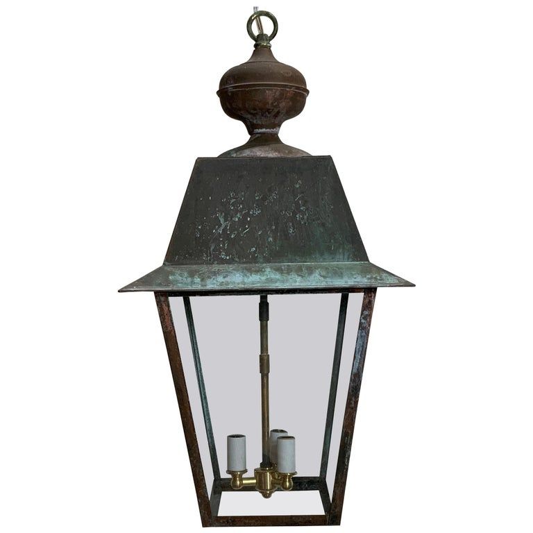 Solid Brass Hanging Lantern For Sale