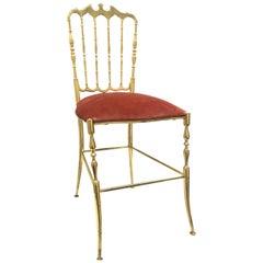 Solid Brass Italian Mid-Century Modern 'Chiavari' Vanity or Side Chair