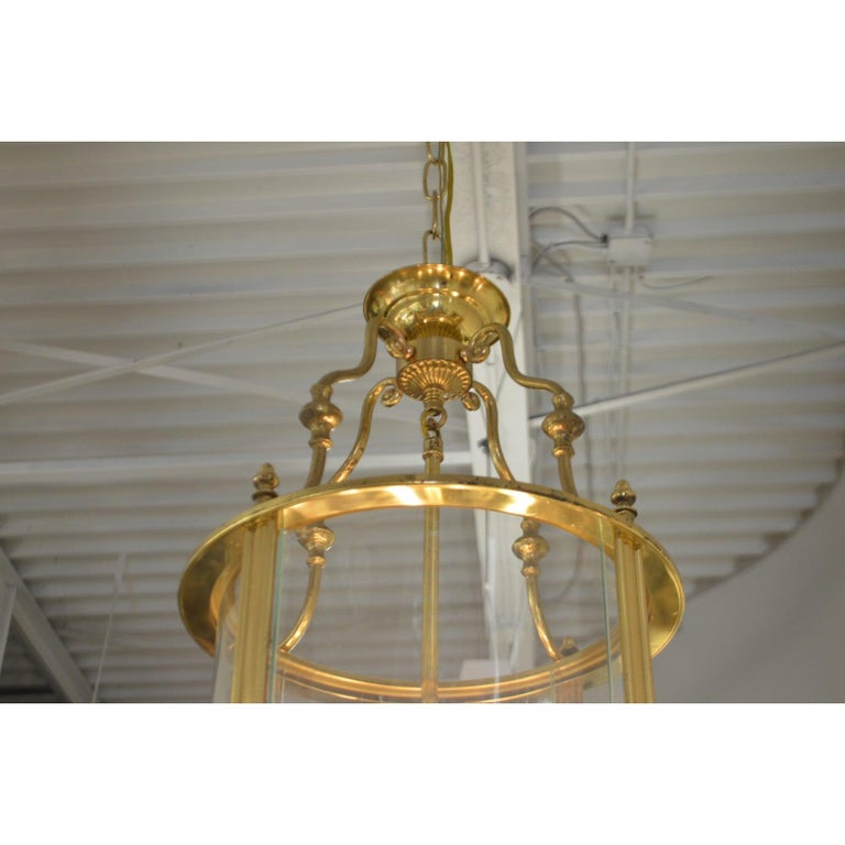 Mid-Century Modern Solid Brass Lantern with Four-Light from France, circa 1950 For Sale