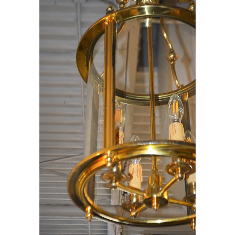 French Solid Brass Lantern with Four-Light from France, circa 1950 For Sale