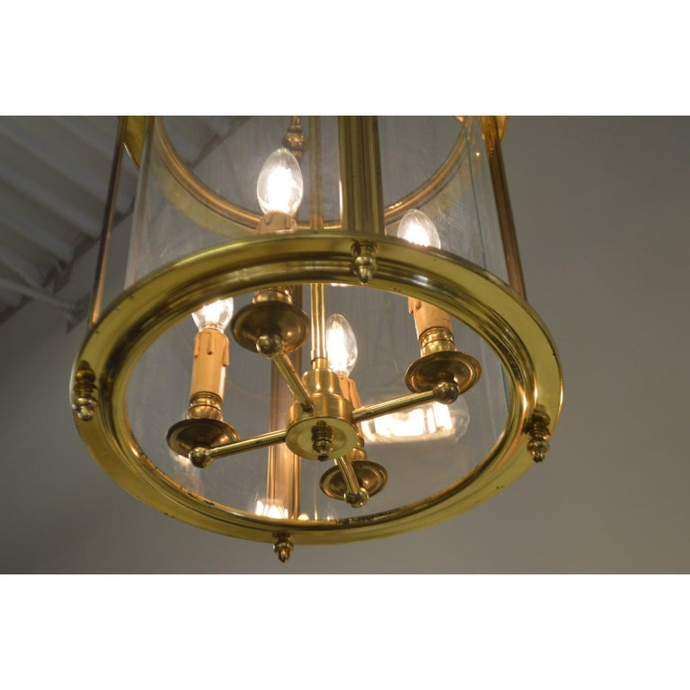 Solid Brass Lantern with Four-Light from France, circa 1950 In Good Condition For Sale In Oakville, ON