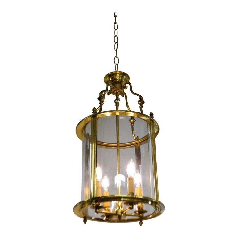 20th Century Solid Brass Lantern with Four-Light from France, circa 1950 For Sale