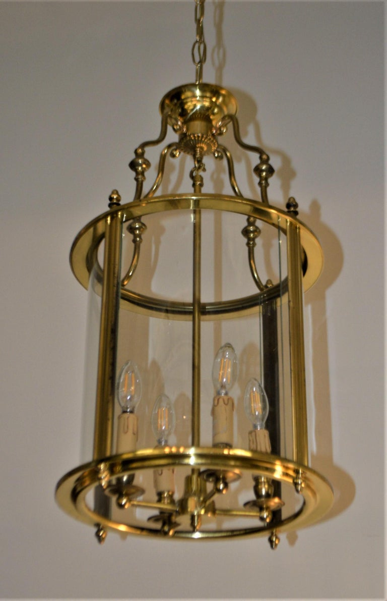Solid Brass Lantern with Four-Light from France, circa 1950 For Sale 1