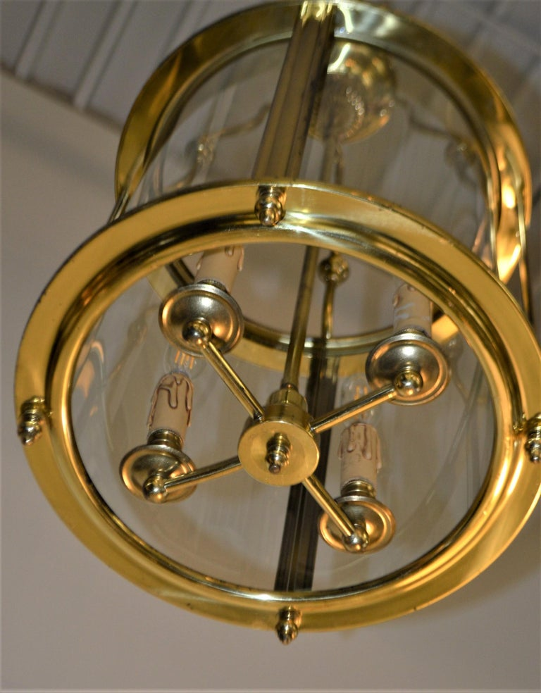 Solid Brass Lantern with Four-Light from France, circa 1950 For Sale 2