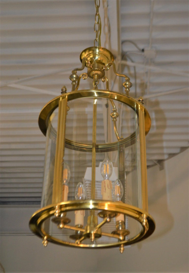 Solid Brass Lantern with Four-Light from France, circa 1950 For Sale 3