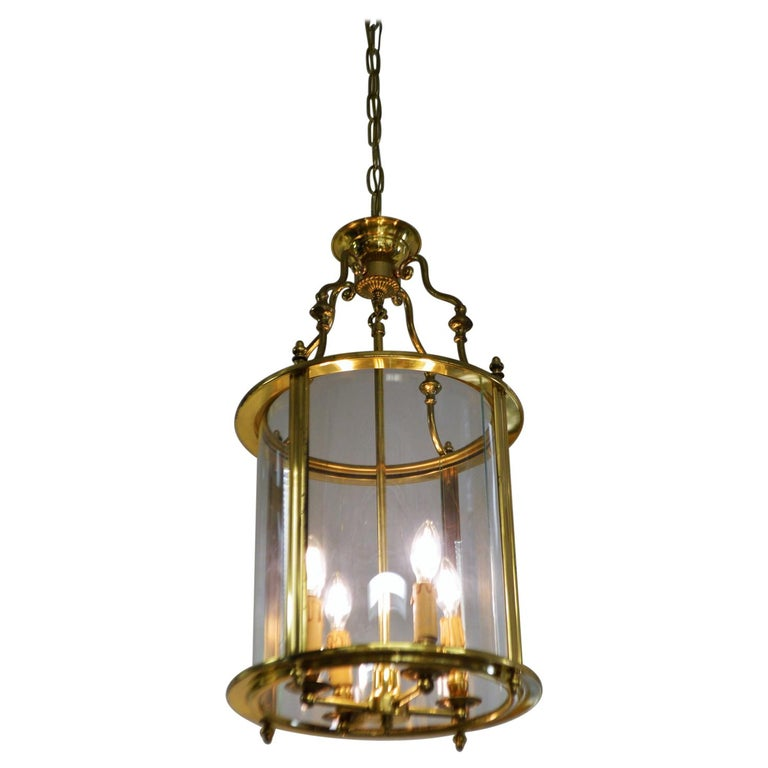 Solid Brass Lantern with Four-Light from France, circa 1950 For Sale