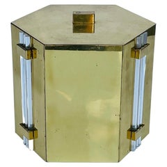 Solid Brass & Lucite Ice Bucket by Noel B.C, Italy