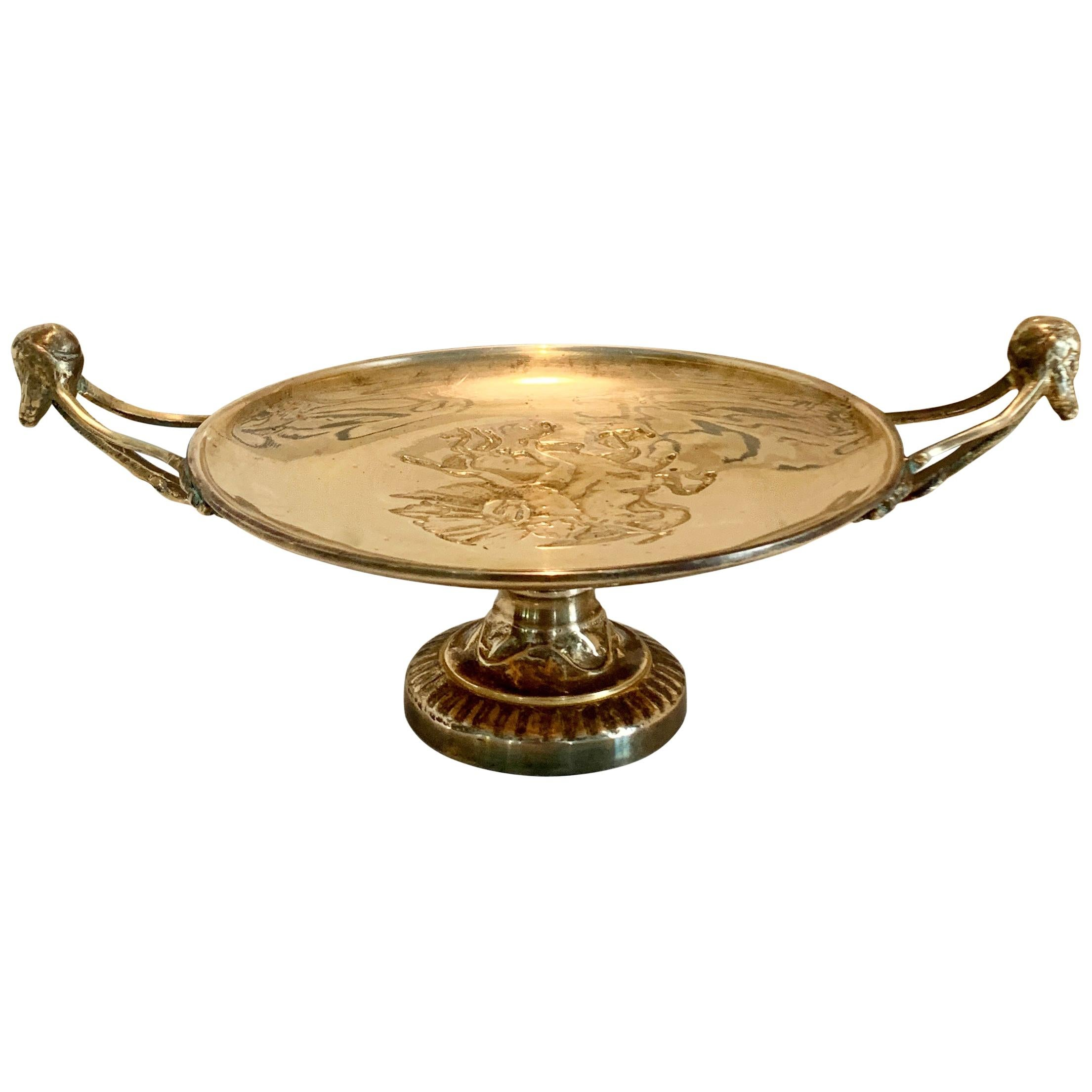 Solid Brass Maitland Smith Footed Centerpiece Handled Tazza