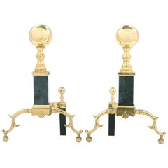 Solid Brass / Marble Pair Regency Style Andirons