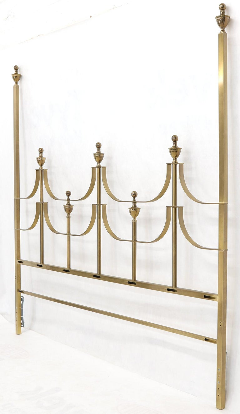 Solid Brass Mastercraft King Size Tall Headboard Bed For Sale 4