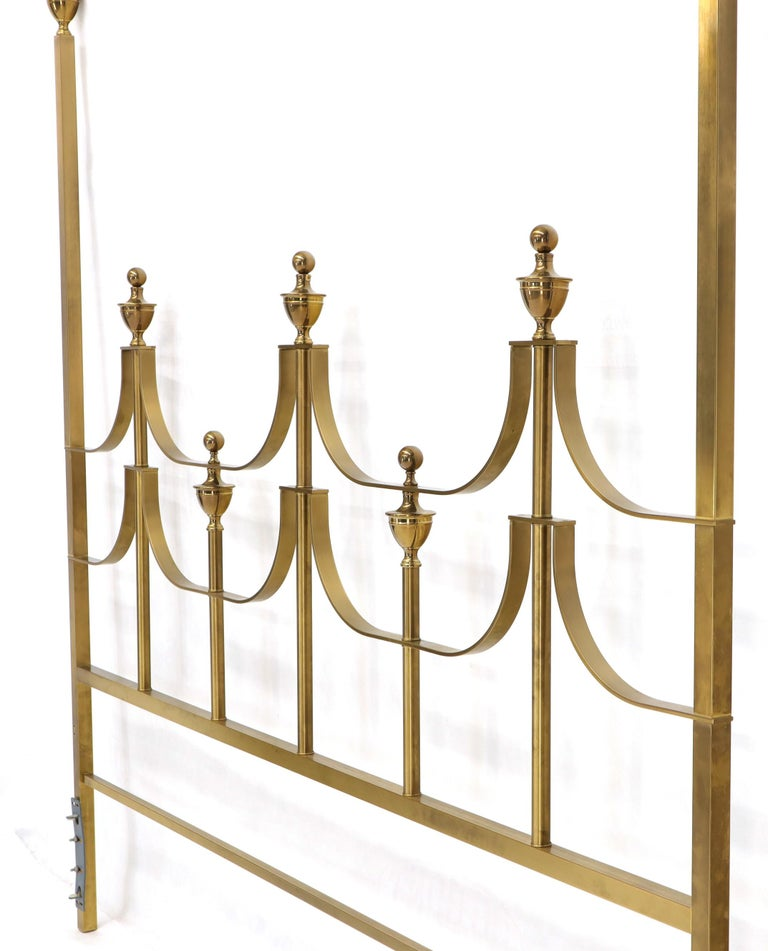 Mid-Century Modern Solid Brass Mastercraft King Size Tall Headboard Bed For Sale