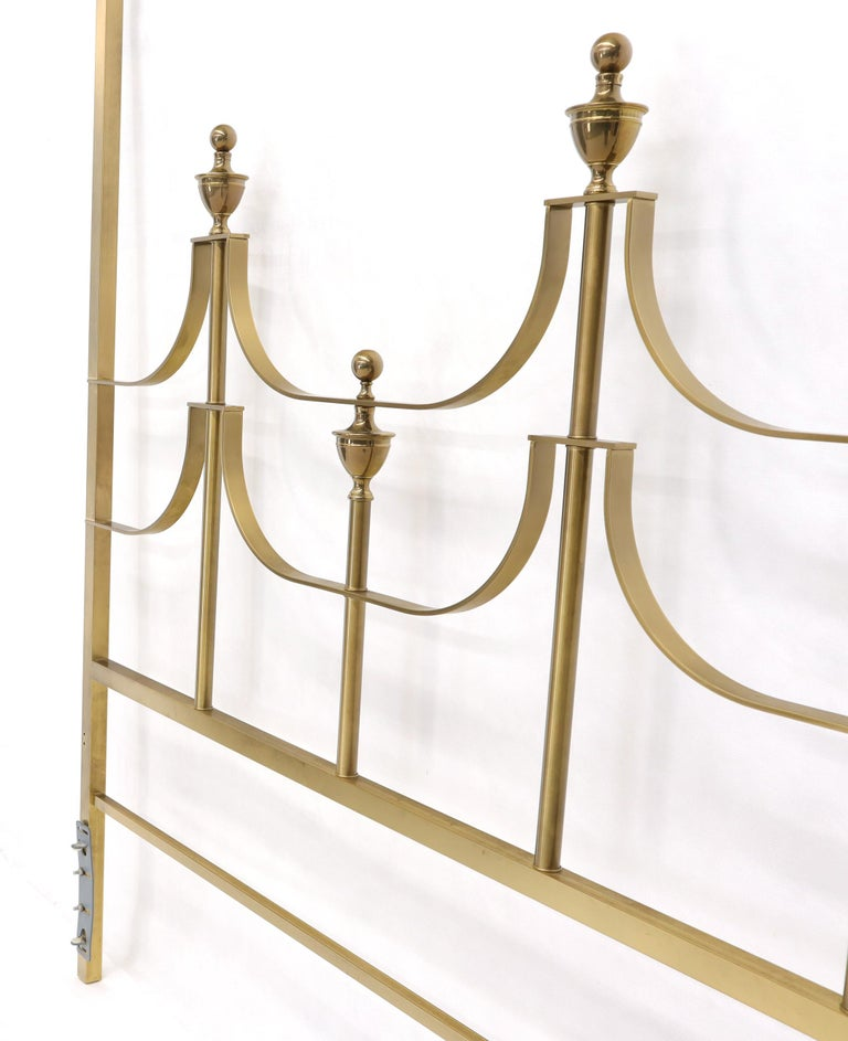 Solid Brass Mastercraft King Size Tall Headboard Bed For Sale 3